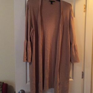 26/28 Bell Sleeve Tan Open Cardigan by Lane Bryant